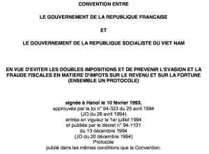 La convention fiscale franco-vietnamienne de 1993.